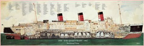 """RMS Queen Mary Sectional View Full Color Poster 11"""" X 32"""