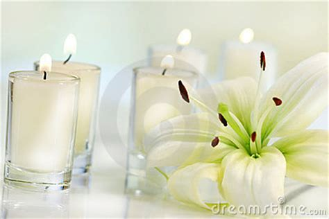 Lily Flower With Candle Royalty Free Stock Images - Image