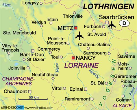Map of Lorraine (State / Section in France) | Welt-Atlas